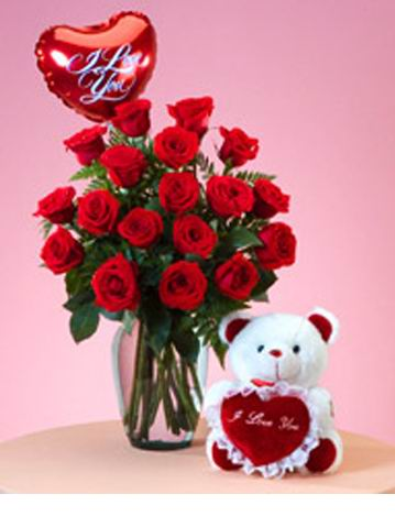 12 Rosas En Jarron Globo I Love You Peluche Rosas En